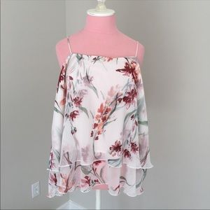 Leith Plus Size Tiered Chiffon Floral Top Size XXL
